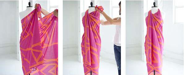 五,丝巾当挂脖裙 甜美又时髦 详细步骤: 步骤1 将丝巾从背后拉到胸前