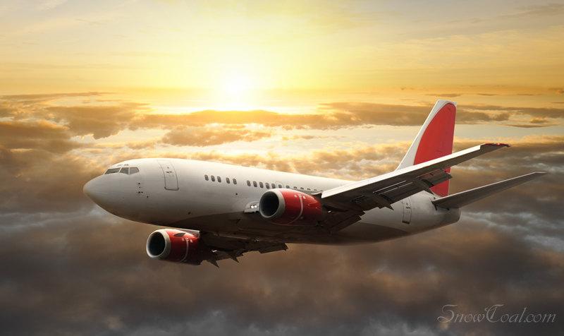 当飞机掠过晨曦