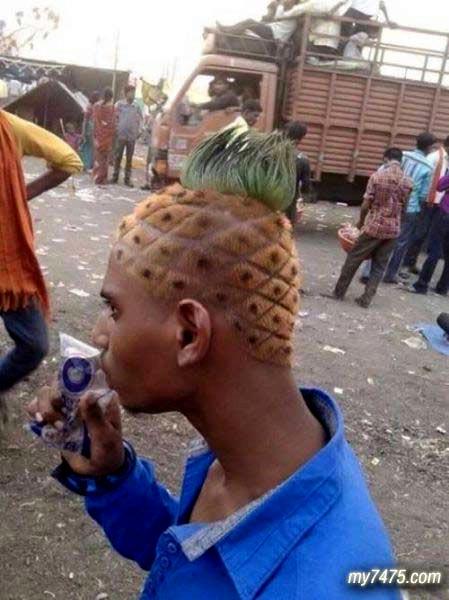 搞笑,你没见过的菠萝头!
